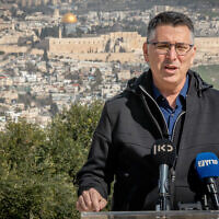 Gideon Sa'ar, head of the New Hope party makes a statement at the Armon Hanatziv Promenade, overlooking the Old City of Jerusalem, February 23, 2021. (Yonatan Sindel/Flash90)