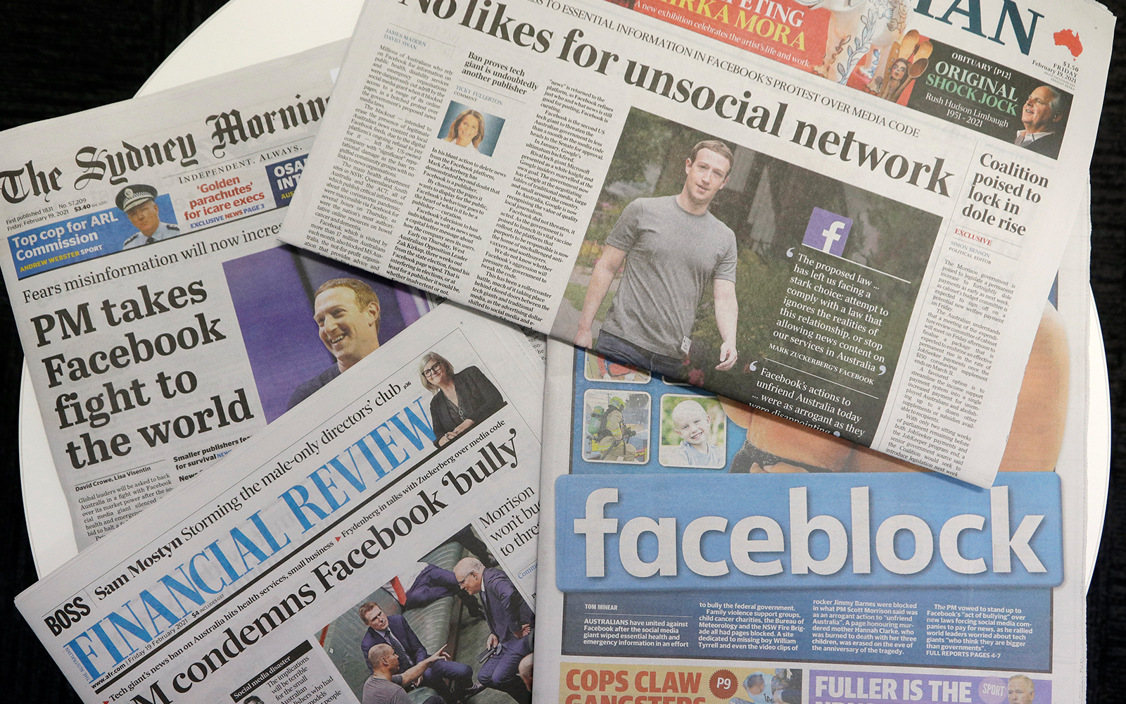 Front pages of Australian newspapers are displayed featuring stories about Facebook in Sydney Feb. 19 2021