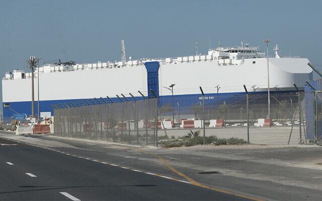 The Israeli-owned cargo ship, Helios Ray, sits docked in port in Dubai, United Arab Emirates, Feb. 28, 2021. (AP Photo/Kamran Jebreili)