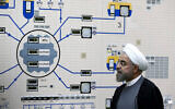Illustrative: Iranian President Hassan Rouhani visits the Bushehr nuclear power plant just outside of Bushehr, Iran, January 13, 2015. (AP Photo/Iranian Presidency Office, Mohammad Berno, File)