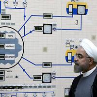 Illustrative: Iranian President Hassan Rouhani visits the Bushehr nuclear power plant just outside of Bushehr, Iran, January 13, 2015. (AP Photo/Iranian Presidency Office, Mohammad Berno, File)