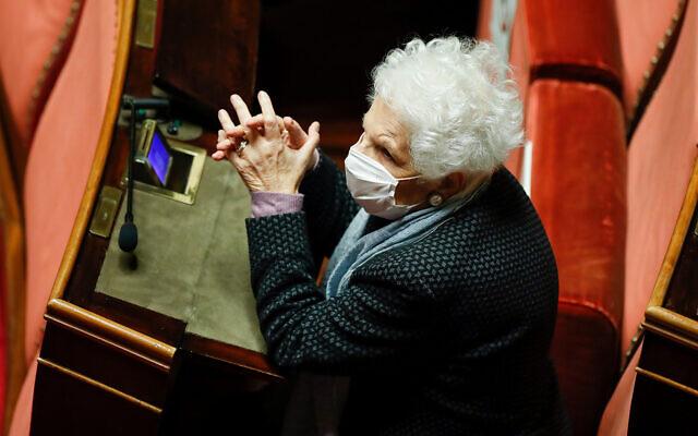 90-year-old Holocaust survivor Liliana Segre attends a debate at the Senate prior to a confidence vote, Rome, January 19, 2021. (Yara Nardi/pool photo via AP, file)