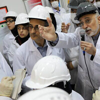Ali Akbar Salehi, head of the organization, speaks with media while visiting the Natanz enrichment facility, in central Iran, November 4, 2019. (Atomic Energy Organization of Iran via AP, File)