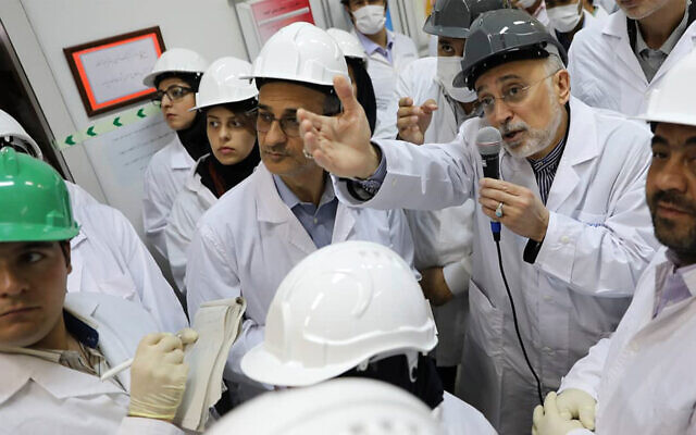 In this file photo released Nov. 4, 2019 by the Atomic Energy Organization of Iran, Ali Akbar Salehi, head of the organization, speaks with media while visiting the Natanz enrichment facility, in central Iran. (Atomic Energy Organization of Iran via AP, File)