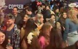 Pre-Purim revelers attend a party in Tel Aviv on February 24, 2021 (screenshot: Twitter)