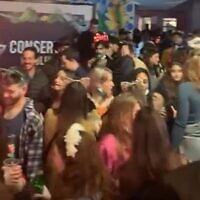 Pre-Purim revelers attend a party in Tel Aviv on February 24, 2021 (screenshot: Twitter)