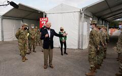 US President Joe Biden speaks at a FEMA COVID-19 mass vaccination site at NRG Stadium in Houston, Texas, Feb. 26, 2021. (AP Photo/Patrick Semansky)