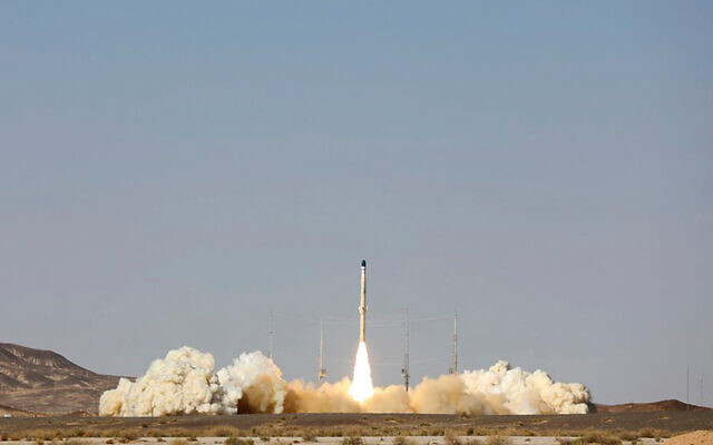 The launch of Iran's newest satellite-carrier rocket, called 'Zuljanah,' at an undisclosed location, in Iran, on February 1, 2021. (Official Website of the Iranian Defense Ministry via AP)