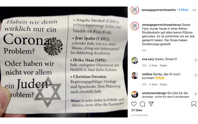 The German chapter of the Grandmothers Against The Right group posted about the flyer on Instagram. (Grandmothers Against The Right/Instagram via JTA)
