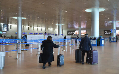 Illustrative: The departure hall at the almost empty Ben Gurion International Airport near Tel Aviv on January 25, 2021. (Yossi Aloni/Flash90)