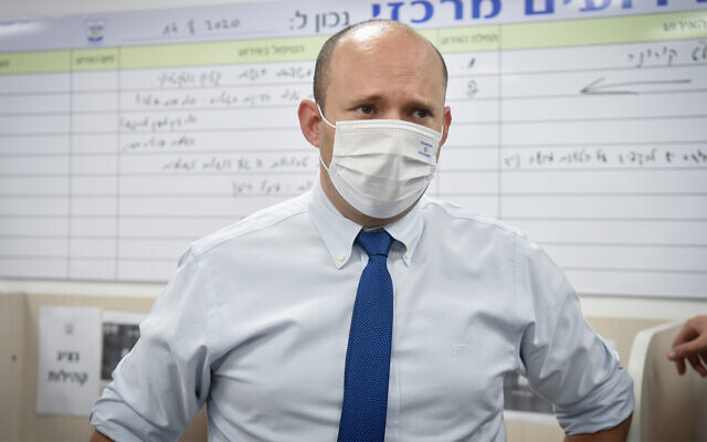Yamina party leader Naftali Bennett visits the ultra-Orthodox Jewish city of Elad, central Israel, September 6, 2020. (Flash90)