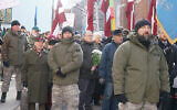 SS veterans and their supporters march in Riga, Latvia on March 16, 2018. (Cnaan Liphshiz via JTA)