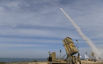 An Iron Dome missile defense system fires an interceptor at a target during an exercise in early 2021. (Defense Ministry)