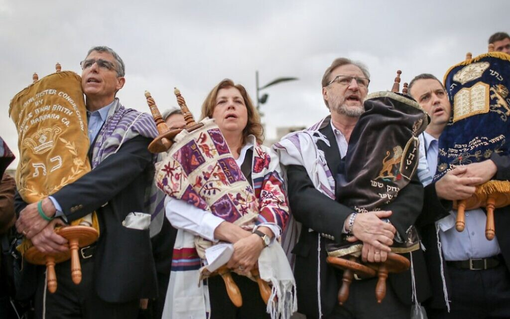Leaders of the Reform and Conservative movements at the Western Wall in Jerusalem, November 2, 2016. (Courtesy Israel Movement for Progressive Judaism)