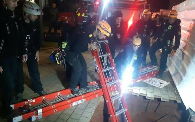 Forces rescue a teenager who fell into a sinkhole in Herzliya on Febuary 19, 2021 (Israel Fire and Rescue Services)