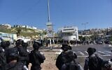 Police disperse a protest against violence in Arab communities, in Umm al-Fahm on February 26, 2021. (Israel Police)