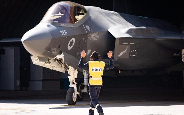 An Israeli Air Force soldier directs an F-35 fighter jets during a surprise exercise, 'Galilee Rose,' in February 2021. (Israel Defense Forces)