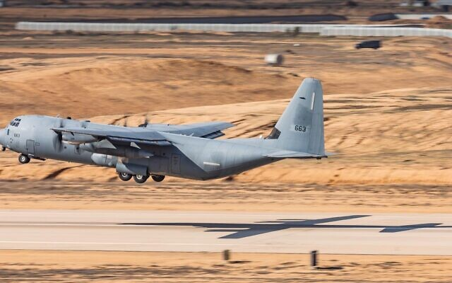 A C-130J cargo plane comes in for a landing during a surprise exercise, 'Galilee Rose,' in February 2021. (Israel Defense Forces)