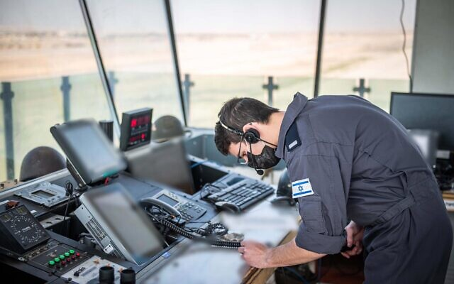 An Israeli Air Force air traffic controller takes part in a surprise exercise, 'Galilee Rose,' in February 2021. (Israel Defense Forces)