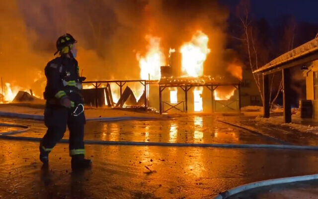 A fire destroyed a large section of Paul Newman's Hole in the Wall Gang Camp for seriously ill children in Connecticut, on February 12, 2021. (Screenshot: Twitter)
