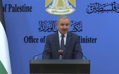 Palestinian Authority Prime Minister Mohammad Shtayyeh at a press conference in Ramallah, February 27, 2021 (WAFA)