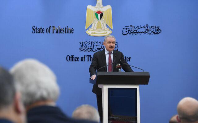 Palestinian Authority Prime Minister Mohammad Shtayyeh addresses PA cabinet ministers on January 25, 2021. (WAFA)