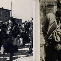On left, an untitled photo of the Lodz Ghetto by Henryk Ross, 1910-1991. On right, one by Ross of a Jewish doctor imprisoned in the Lodz Ghetto. (Courtesy of Museum of Fine Arts Boston via JTA)