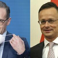 Hungarian Minister of Foreign Affairs and Trade Peter Szijjarto, right, and Heiko Maas, German Foreign Minister, left. (Attila Kovacs/MTI via AP / Kay Nietfeld/dpa via AP)