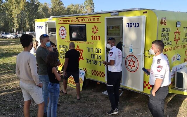 A mobile vaccination center in the Shokeda forest on February 13, 2020 (Courtesy Magen David Adom)