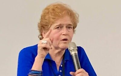 Historian Deborah Lipstadt speaks at the Galicia Jewish History Museum in Krakow, Poland, June 2019 (courtesy: Barbara Kirshenblatt-Gimblett via Facebook)