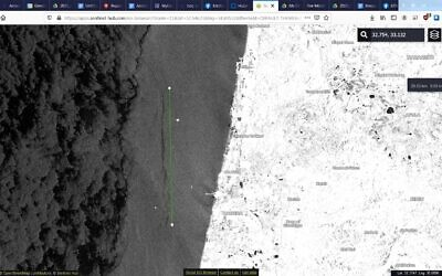 Satellite image from February 13, 2021, of a 26.4 kilometer(16.4 mile) long oil spill about 10 km (six miles) from Hadera in northern Israel.