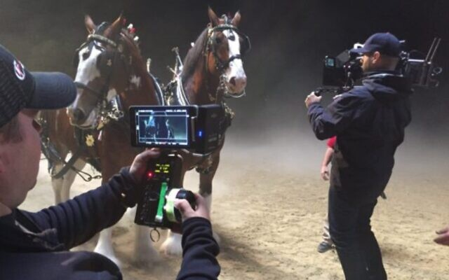 A film crew using Israel's Amimon technology, which was awarded a 2021 Oscar for Science and Technology (Courtesy Amimon)