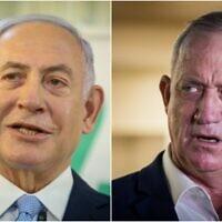 Prime Minister Benjamin Netanyahu (L) Defense Minister Benny Gantz (Yonatan Sindel, David Cohen/Flash90)