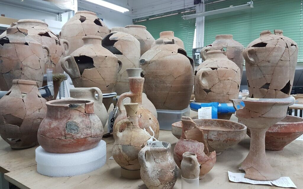 Restored pottery found at what is likely the biblical city of Ziklag, now in the labs of the Israel Antiquities Authority. (Courtesy of Ziklag Excavation Expedition)