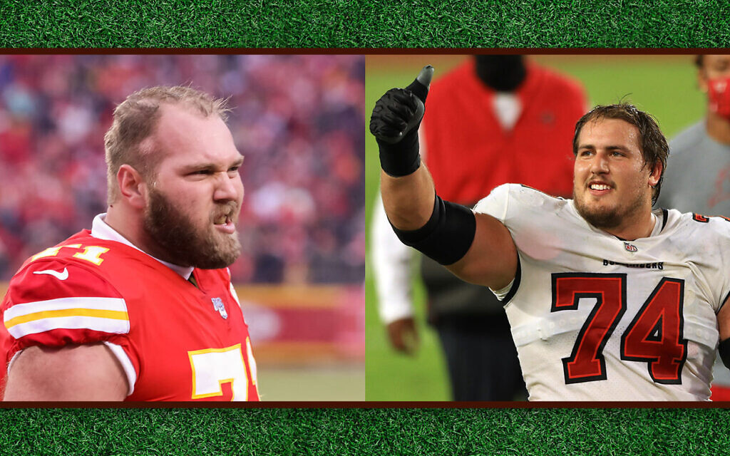 Mitchell Schwartz, left, and Ali Marpet are two of the NFL's few Jewish players. (Getty Images via JTA)