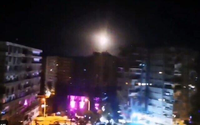 A purported Israeli airstrike near Damascus, Syria on February 15, 2021 (Screencapture/Twitter)