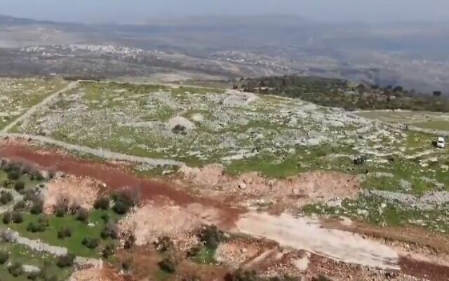 Palestinian Authority workers destroyed part of the retaining wall of a West Bank archeological complex believed to house an altar built by biblical Joshua on February 11, 2021 (Screencapture/twitter)