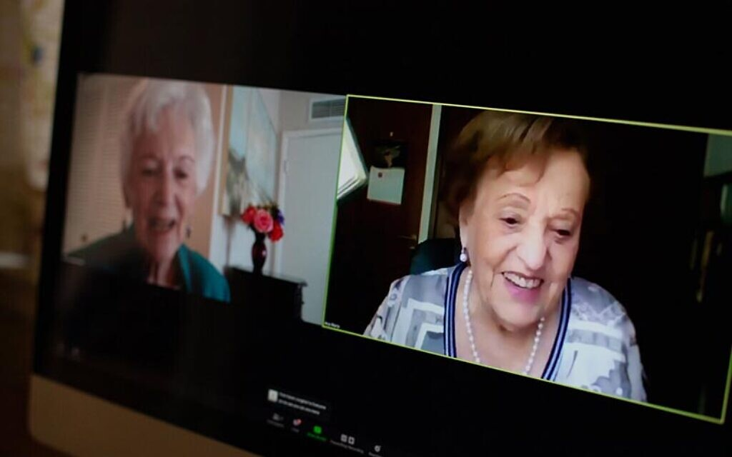 Betty Grebenshikoff (left) and Ana Maria Wahrenberg reunite on Zoom after 82 years of not knowing what happened to each other after Kristallnacht in Nazi Germany, November 2020 (courtesy: USC Shoah Foundation)