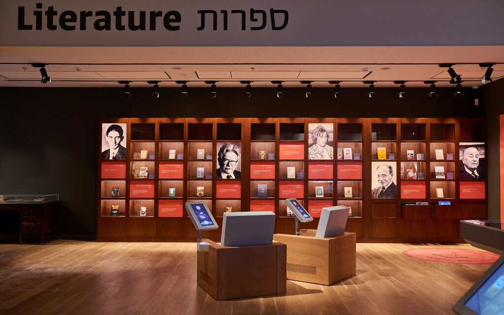 Jewish writers, a section in the The Mosaic, the first gallery of the newly refurbished ANU Museum of the Jewish People, which reopened in Tel Aviv on March 10, 2021 (Courtesy Shahar and Ziv Katz)