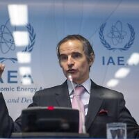 Rafael Grossi, Director General of the International Atomic Energy Agency, speaks during a press conference shortly after the IAEA Board of Governors meeting at the agency's headquarters in Vienna, Austria on March 1, 2021. (JOE KLAMAR / AFP)