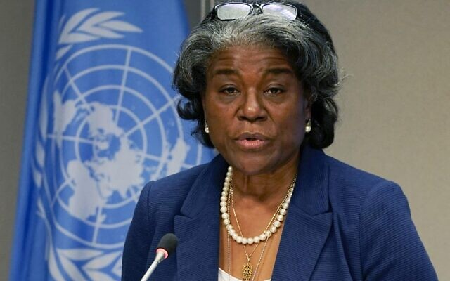 US ambassador to the United Nations Linda Thomas-Greenfield at UN Headquarters in New York, on March 1, 2021. (TIMOTHY A. CLARY / AFP)