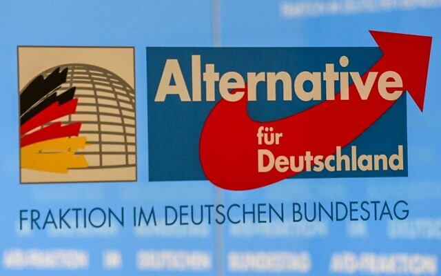 The logo of the parliamentary group of the Alternative for Germany (AfD is pictured on March 3, 2021, in the parliamentary compound of the Bundestag in Berlin, after Germany's domestic security agency placed the far-right party under surveillance for posing a threat to democracy. (Tobias Schwarz/AFP)
