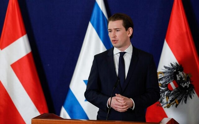 Austrian Chancellor Sebastian Kurz gives a joint press conference with then-prime minister Benjamin Netanyahu and the Danish Prime Minister Mette Frederiksen (not pictured), at the Israeli prime minister's office in Jerusalem, on March 4, 2021. (Olivier Fitoussi/Pool/AFP)