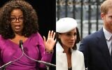 In this file photo taken on March 04, 2021 (COMBO) This combination of file pictures created on March 4, 2021 shows US TV personality Oprah Winfrey speaking on April 7, 2015 at the Warner Theater in Washington, DC, and Britain's Prince Harry (R) and his fiancée US actress Meghan Markle attending a Commonwealth Day Service at Westminster Abbey in central London, on March 12, 2018. (Photos by NICHOLAS KAMM and Daniel LEAL-OLIVAS / AFP)