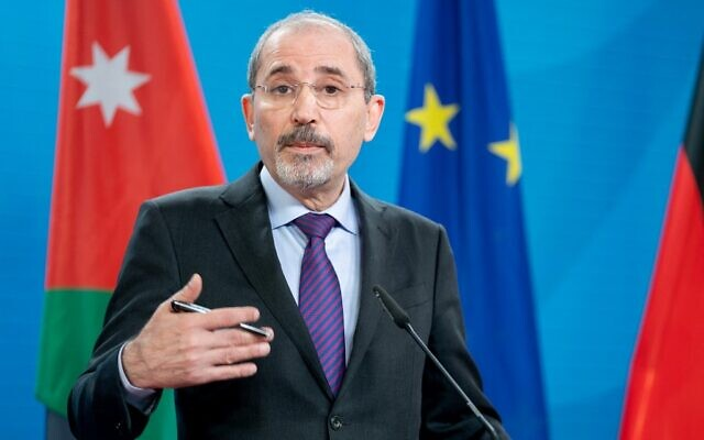 Jordan's Foreign Minister Ayman Safadi at a press conference in Berlin