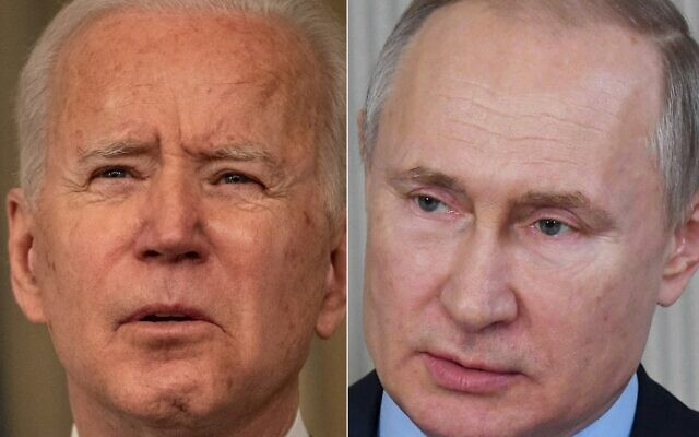 This combination of pictures created on March 17, 2021, shows US President Joe Biden (L) and Russian President Vladimir Putin. (Eric Baradat and Alexey Nikolsky/Various Sources/AFP)
