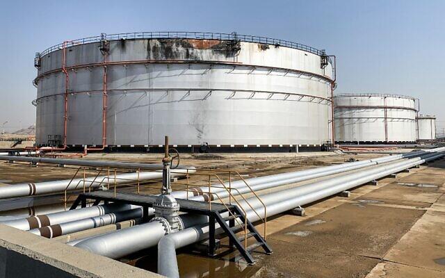 Illustrative: A damaged silo at the Saudi Aramco oil facility in Saudi Arabia's Red Sea city of Jeddah, November 24, 2020. (Fayez Nureldine/AFP)