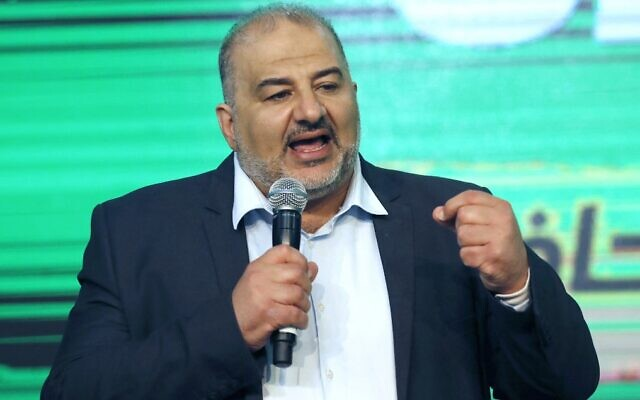Ra'am leader Mansour Abbas at the Islamist party's campaign headquarters in the northern city of Tamra on March 23, 2021. (Ahmad Gharabli/AFP)
