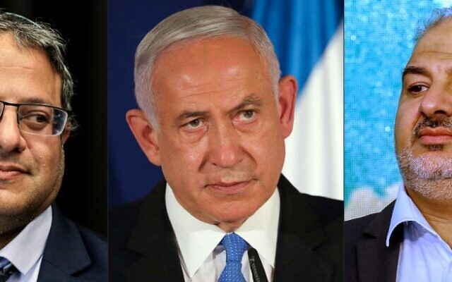 (COMBO) This combination of pictures created on March 26, 2021, shows (R to L) Itamar Ben Gvir, head of the Israeli Jewish Power (Otzma Yehudit) party party, on March 15, 2021, Israeli Prime Minister Benjamin Netanyahu, on March 11, 2021 and Mansour Abbas, head of a conservative Islamic party Raam, on March 23, 2021. - Netanyahu this week has a unique challenge in Israeli history: rallying the far right and the Islamists in the same government. (Photos by various sources / AFP)