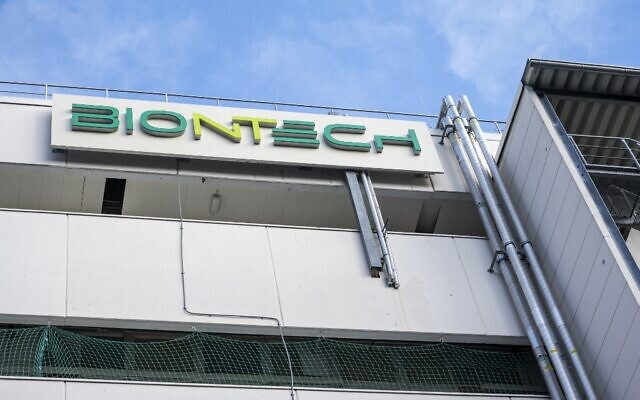 A photo taken on March 27, 2021 shows the logo on the facade of the new manufacturing site of German company BioNTech for the production of the vaccine against the coronavirus (COVID-19) in Marburg, central Germany. (Thomas Lohnes / AFP)